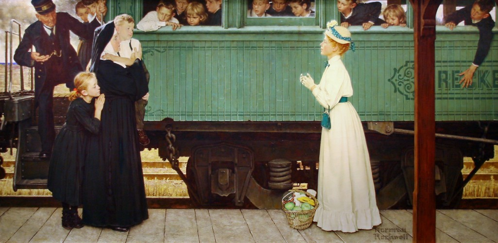 Painting of a woman adopting an orphan boy off a train.