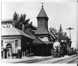 Santa Fe Railroad Station in Pasadena with train and Green Hotel in background (Source: www.pasadenadigitalhistory.com)