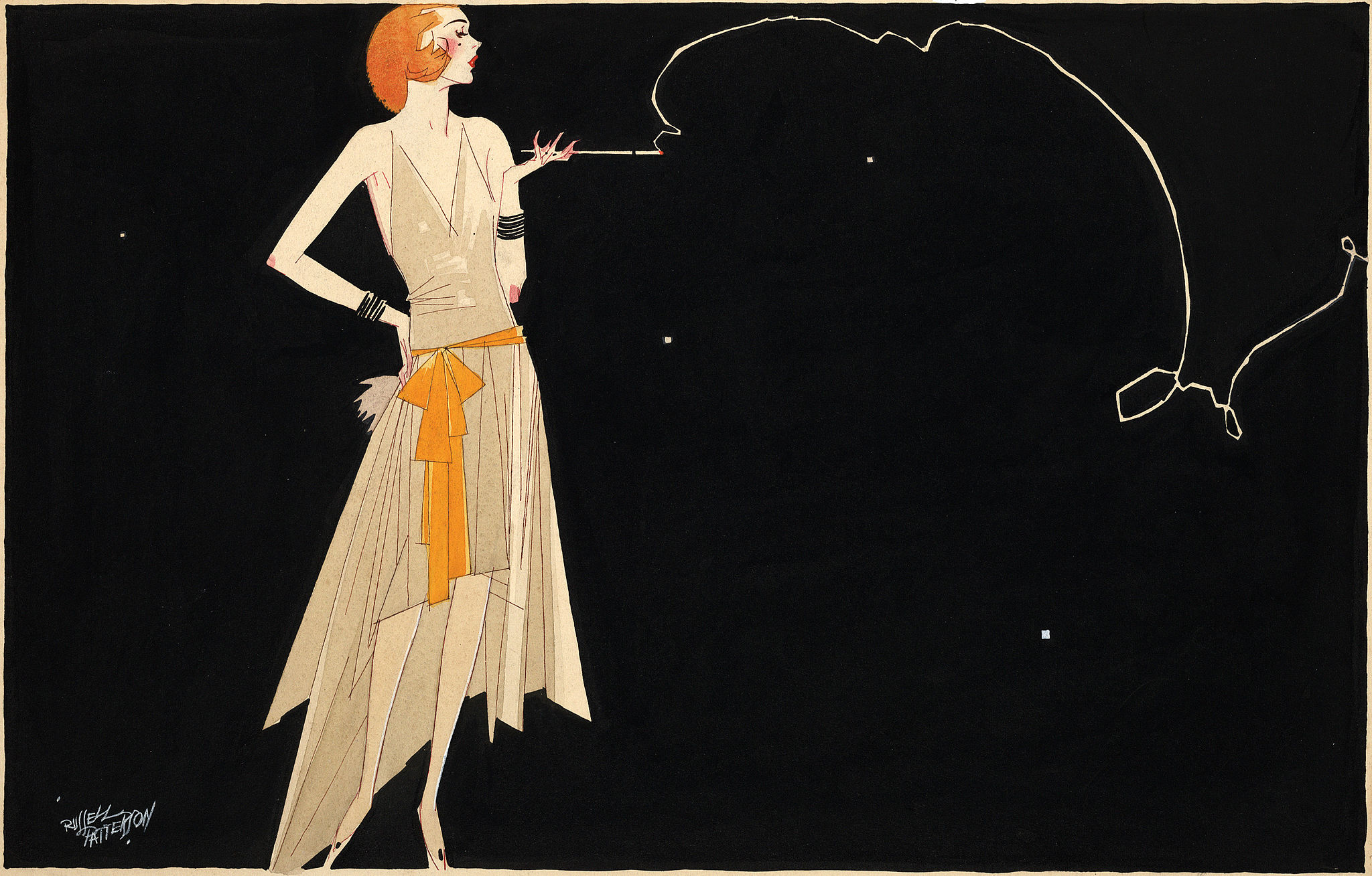 Flapper smoking illustration