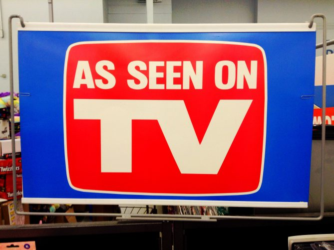 "sign reading ""as seen on tv"""