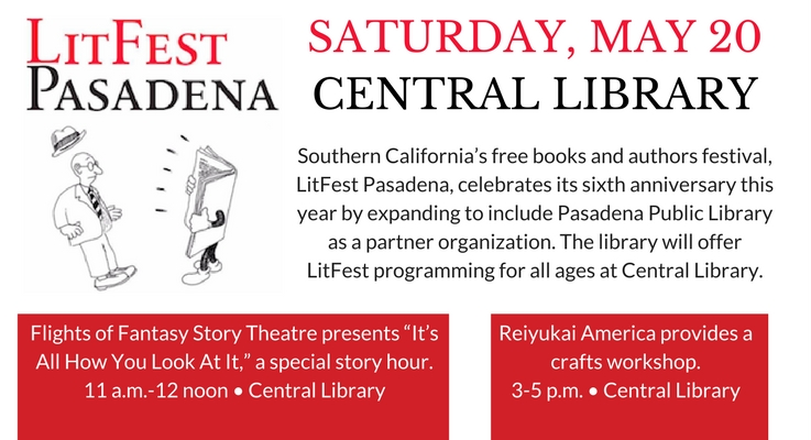 LitFest Pasadena May 20 at Central Library