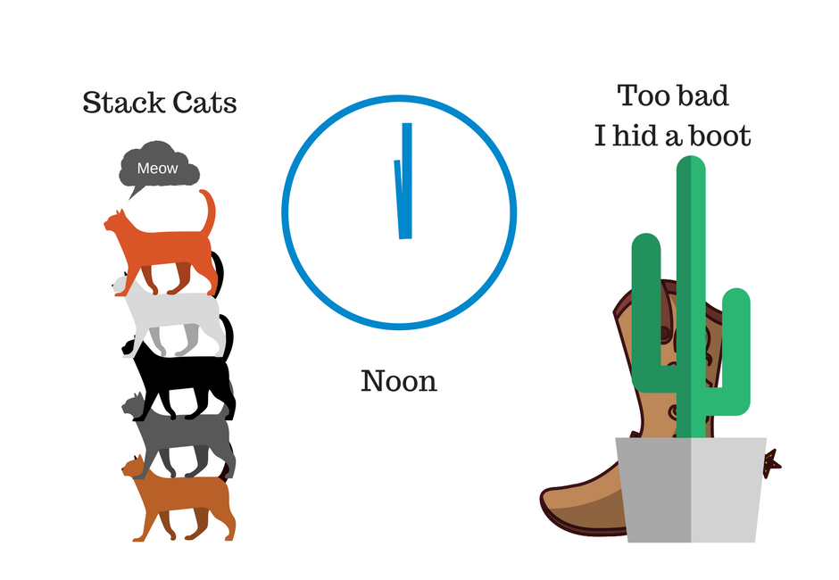 illustrated palindromes: stack cats, noon, too bad I hid a boot