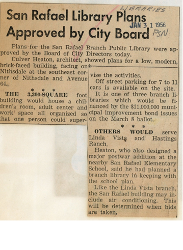 "Pasadena Star News article titled ""San Rafael Library Plans Approved by City Board"" from 1/31/1956."