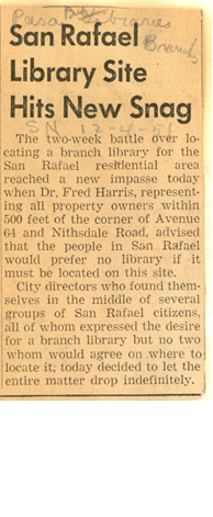 "Pasadena Star News article titled ""San Rafael Library Site Hits New Snag"" from 12/4/1951."