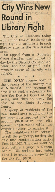 "Pasadena Star News article titled ""City Wins New Round in Library Fight"" from 7/21/1954."