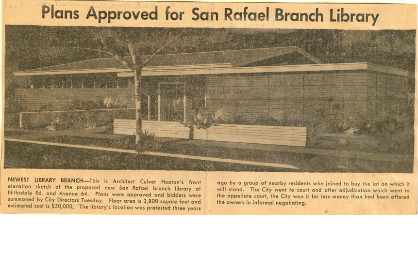 "Pasadena Star News article titled ""Plans Approved for San Rafael Branch Library"" from 9/2/1956."