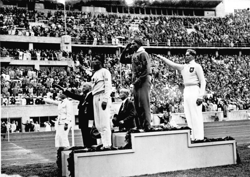 Jesse Owens on the medal stand, Berlin Olympics 1936