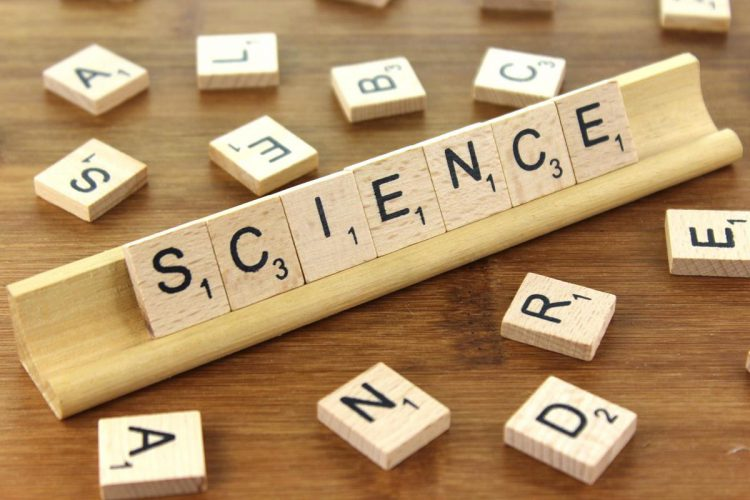 Science spelled with scrabble letters
