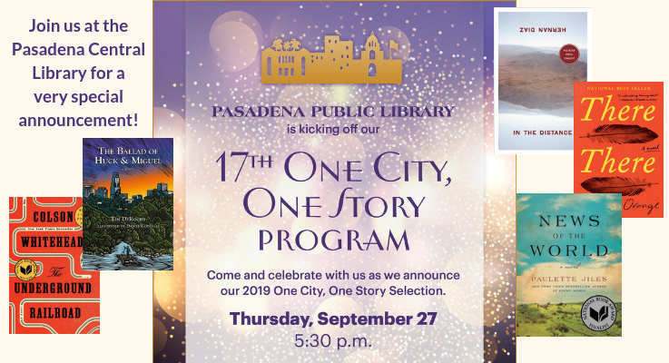 One City One Story Reveal Thursday, September 27 at 5:30pm at the Central Library