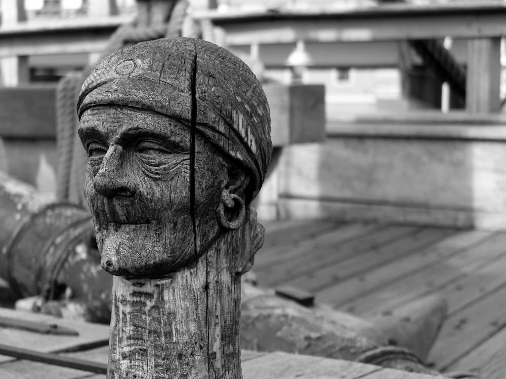 image of carved pirate head