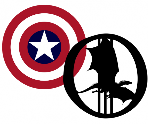 "image of Marvel Captain America shield and letter ""O"" with dragon silhouette"