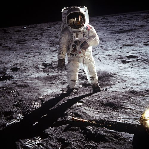Astronaut Buzz Aldrin on the moon, July 1969 (used via Wikimedia Commons; source: NASA/Public Domain)