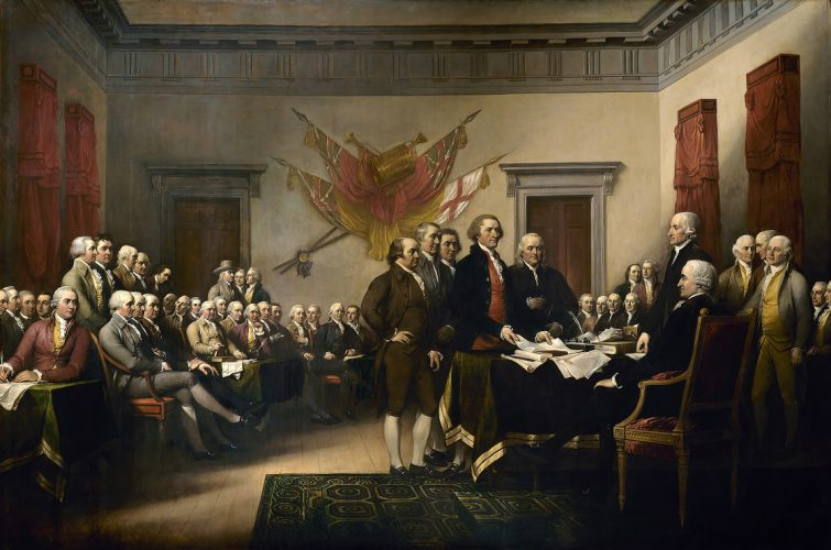 "John Trumbull's 1819 painting, ""Declaration of Independence"" (which appears on the US $2 bill"