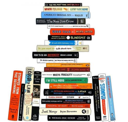 Illustration of books stacked by Jane Mount from Ideal Bookshelf visit her site at https://idealbookshelf.com for more information (used with permission from Jane Mount)