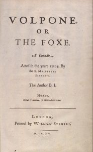 The Title Page of Volpone in Ben Jonson's Collected Works (1616)
