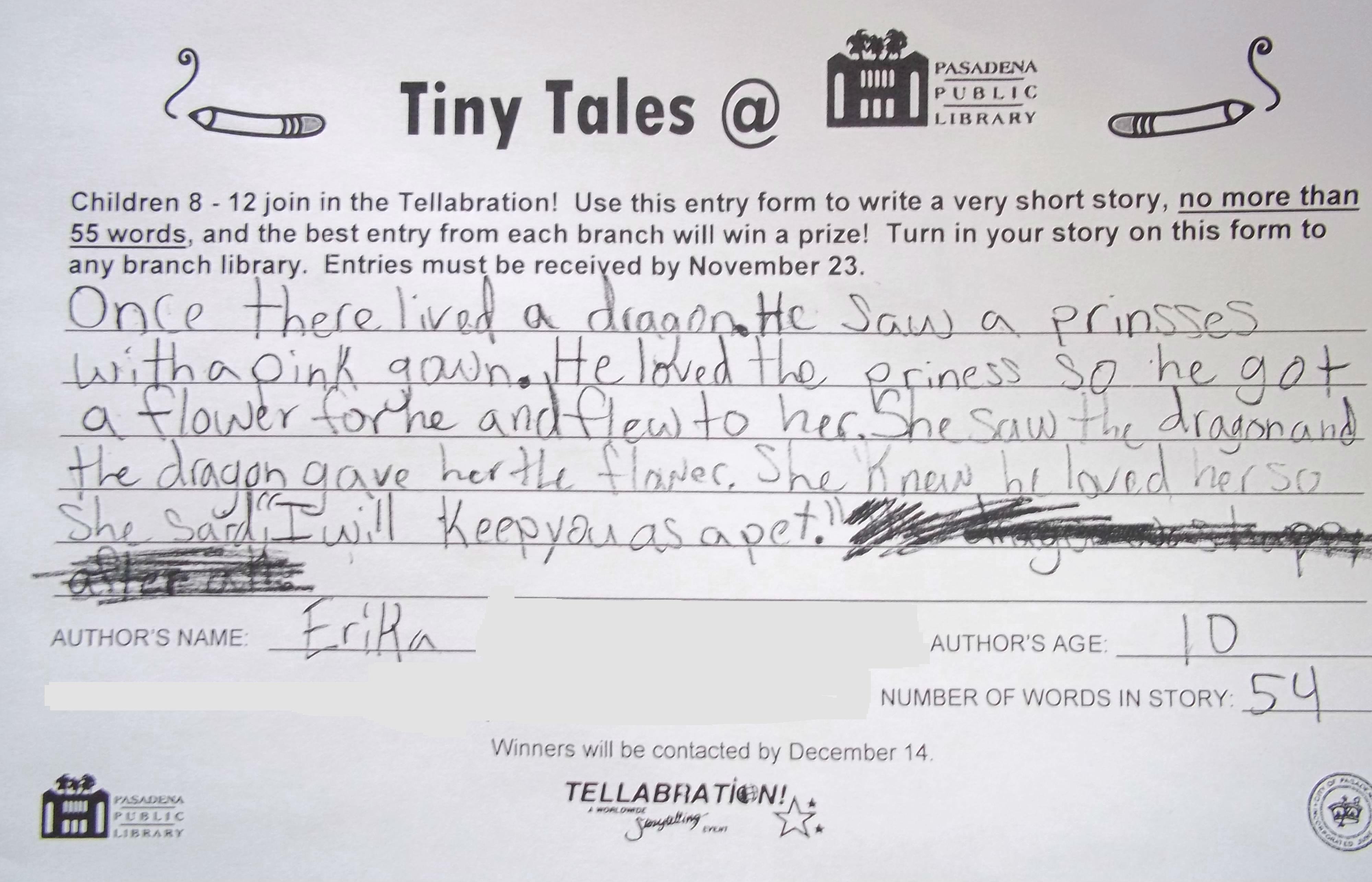 Tiny Tales @ PPL: WINNING STORIES! – Kids Blog