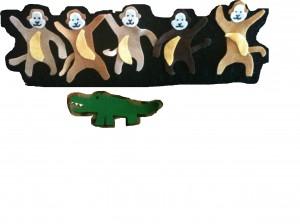 monkeys and crocodil