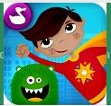 Superhero Comic Book Maker is an app recommended for kids ages 5-8.  Kids use animated stickers and make the characters come to life while recording dialogue in their own voice.