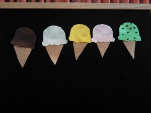 five little ice cream cones