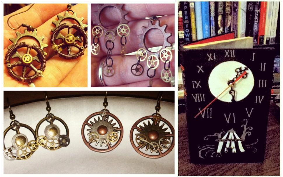 Steampunk earrings by Katie Ferguson; clock by Jane Gov