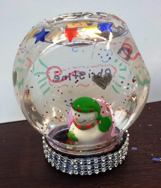 Snowman snowglobe by Christine A. age 14