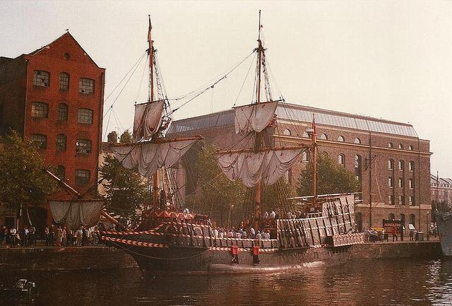 Mayflower replica ship in Bristol Harbor.