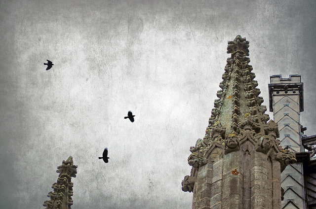 Gothic spire with crows and clouds.