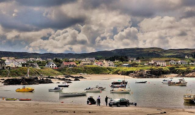 Photo of Irish harbor and small town.