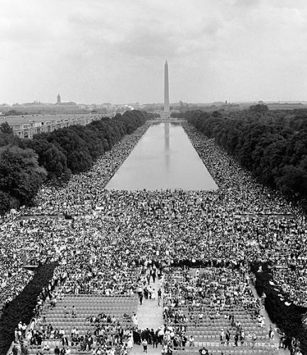 Crowd on the National Mall at the 1963 March on Washington.