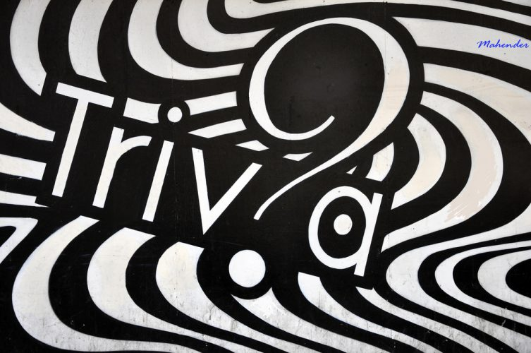 """The word """"Triv?a"""" in black and white in a wall mural."""