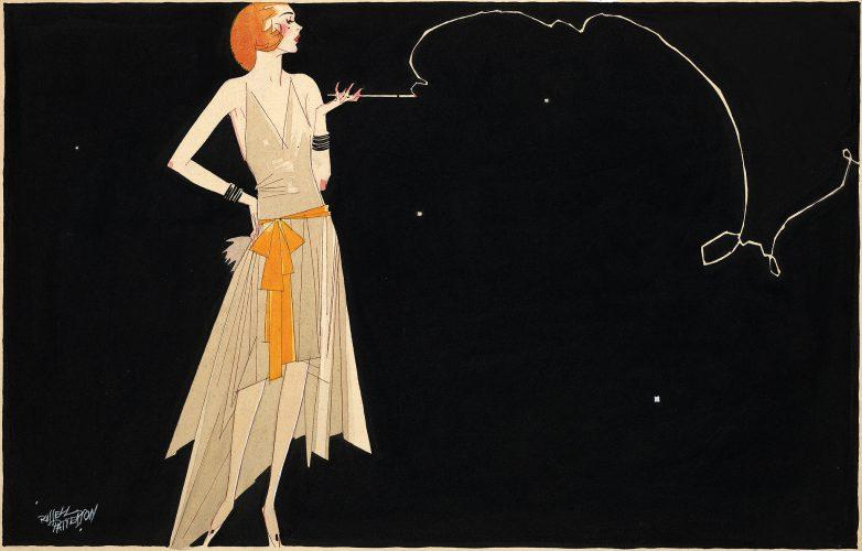 Flapper smoking illustration