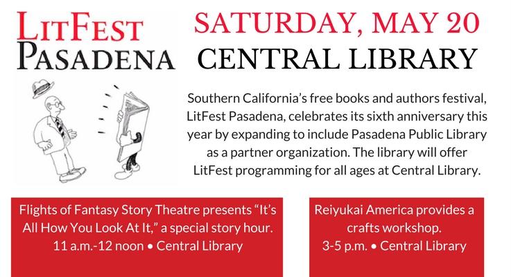 LitFest Pasadena May 20 at Central Library