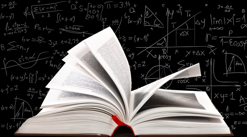 image of open book and math equations
