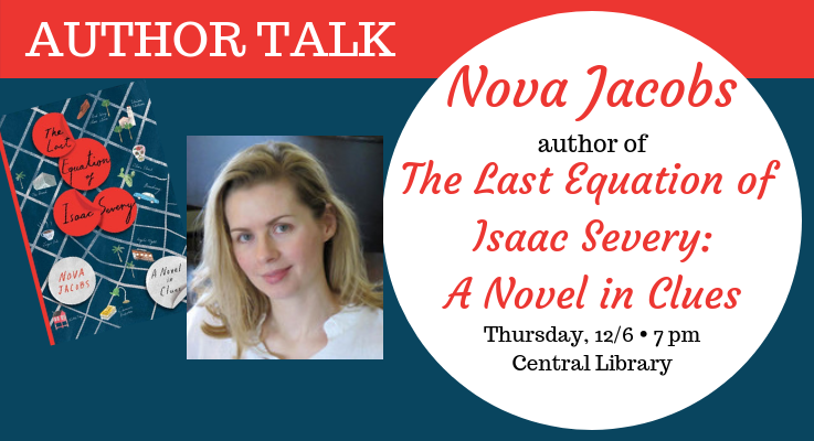 Nova Jacobs author talk 12/6 at 7pm at the Central Library